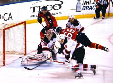 Jaromir Jagr scoring a goal on New Jersey goaltender Cory Schneider