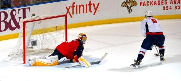 Luongo making a save on Alexander Ovechkin during the 20-round shootout in December