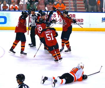 Aaron Ekblad celebrating his first career NHL goal