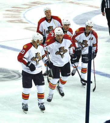 Celebrating Erik Gudbranson's first goal - and the Panthers' first goal - of the 2014-15 season